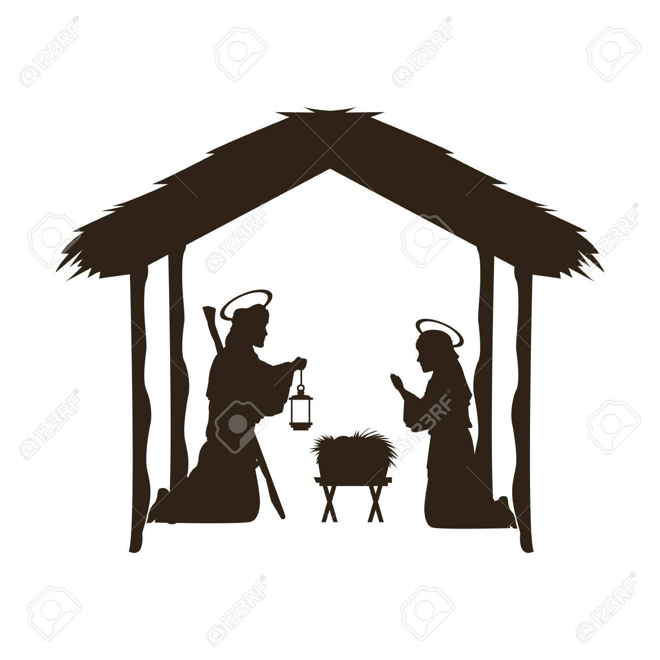 Christmas Christian Scene With Baby Jesus In The Manger In ...