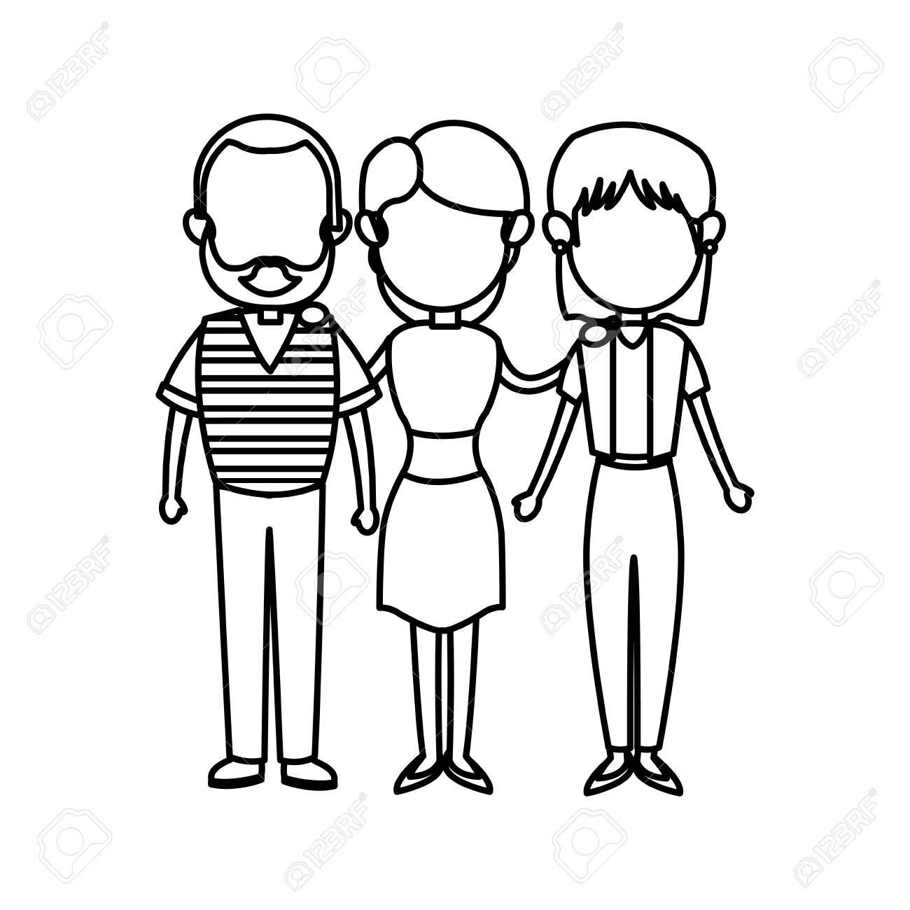 Padres De Familia Y Abuelos Junto Ilustracion De Vector De Personaje