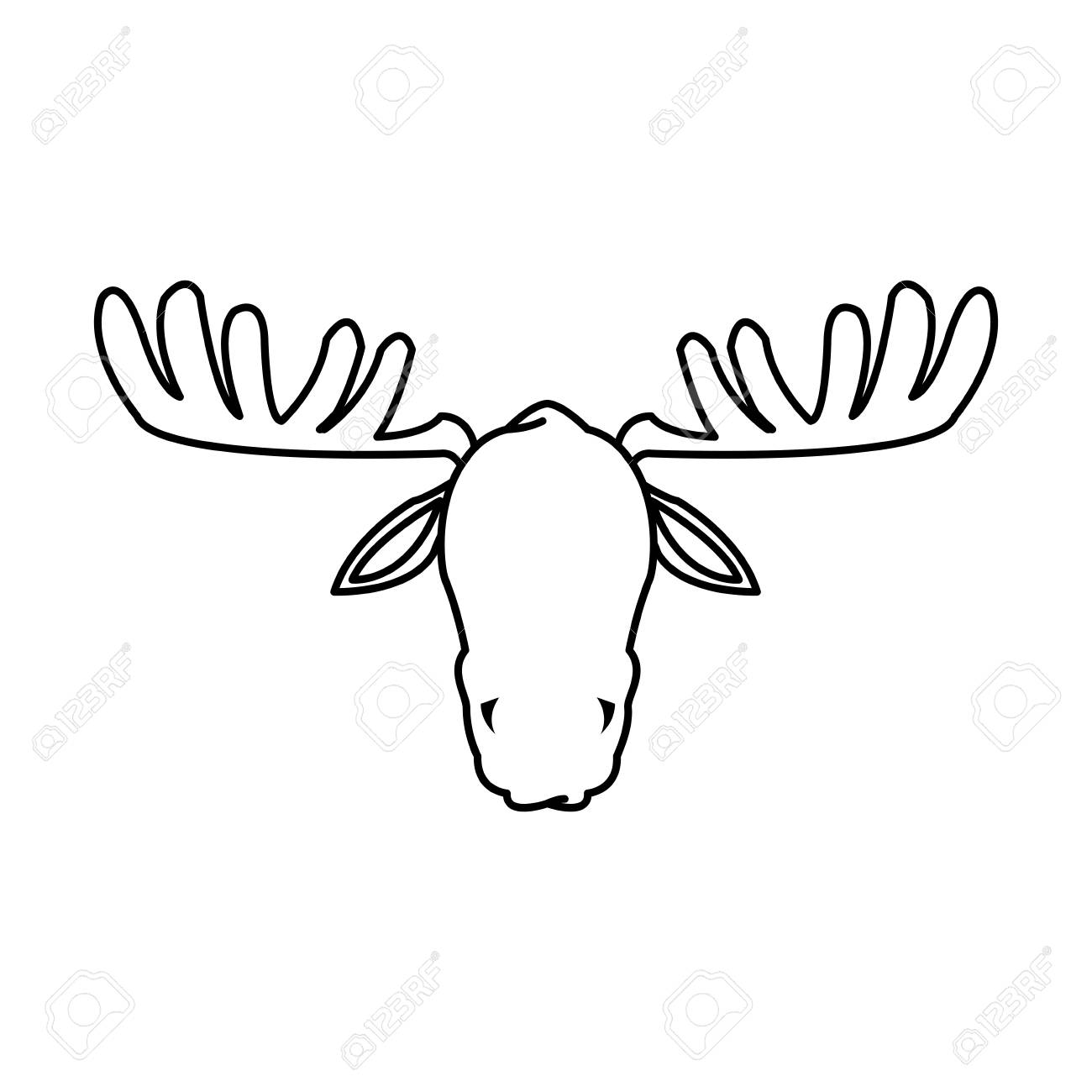 Moose Antler Animal Natural Wildlife Image Vector Illustration