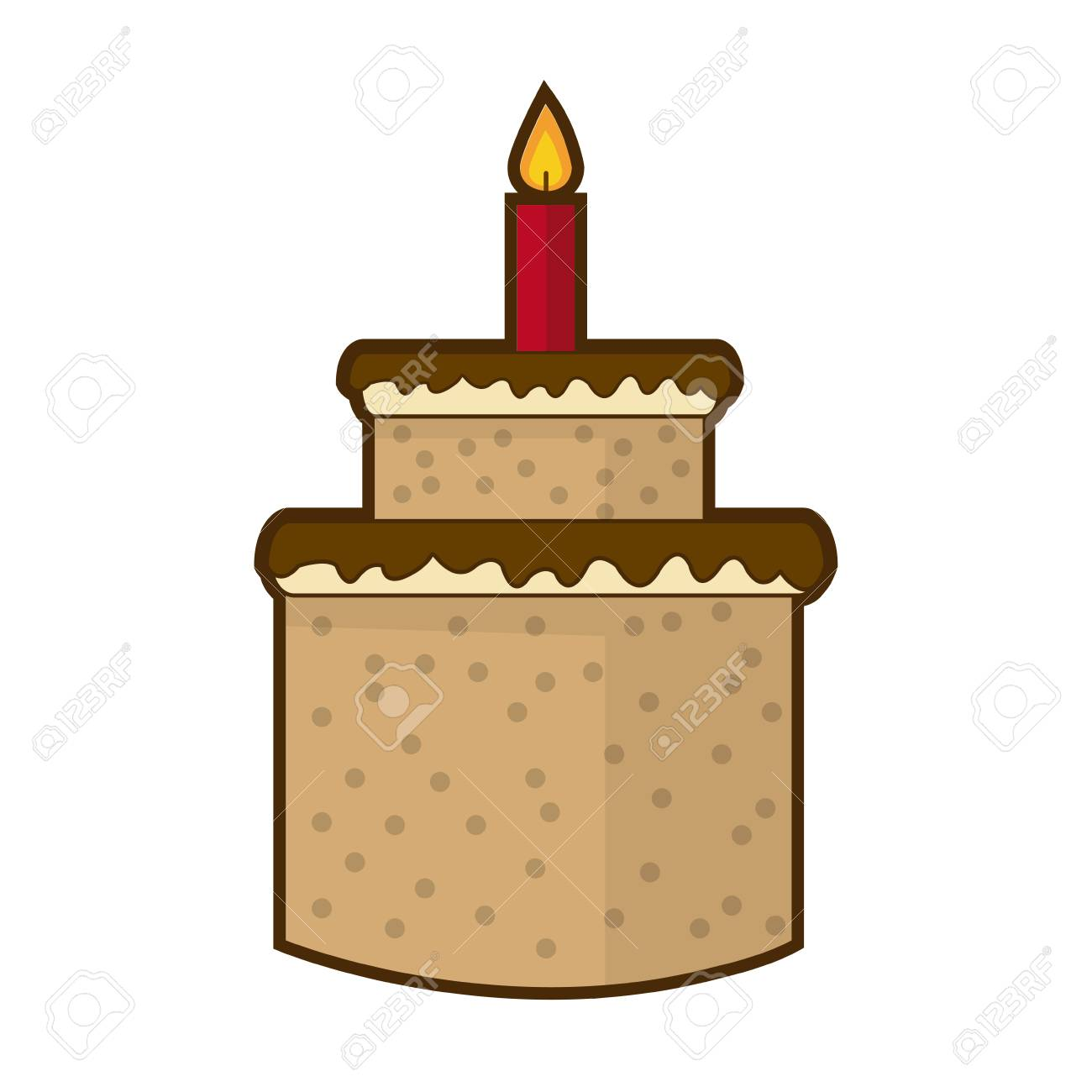 Cream Birthday Cake With Burning Candles Vector Illustration Royalty