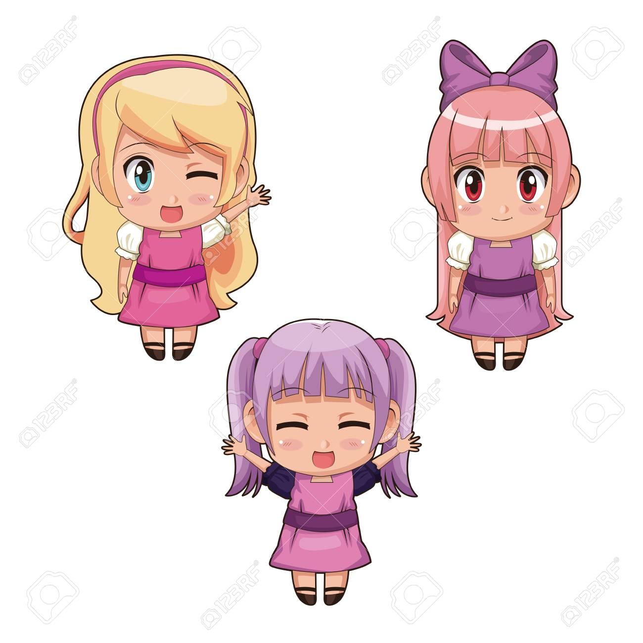 colorful set full body cute anime girls facial expression in