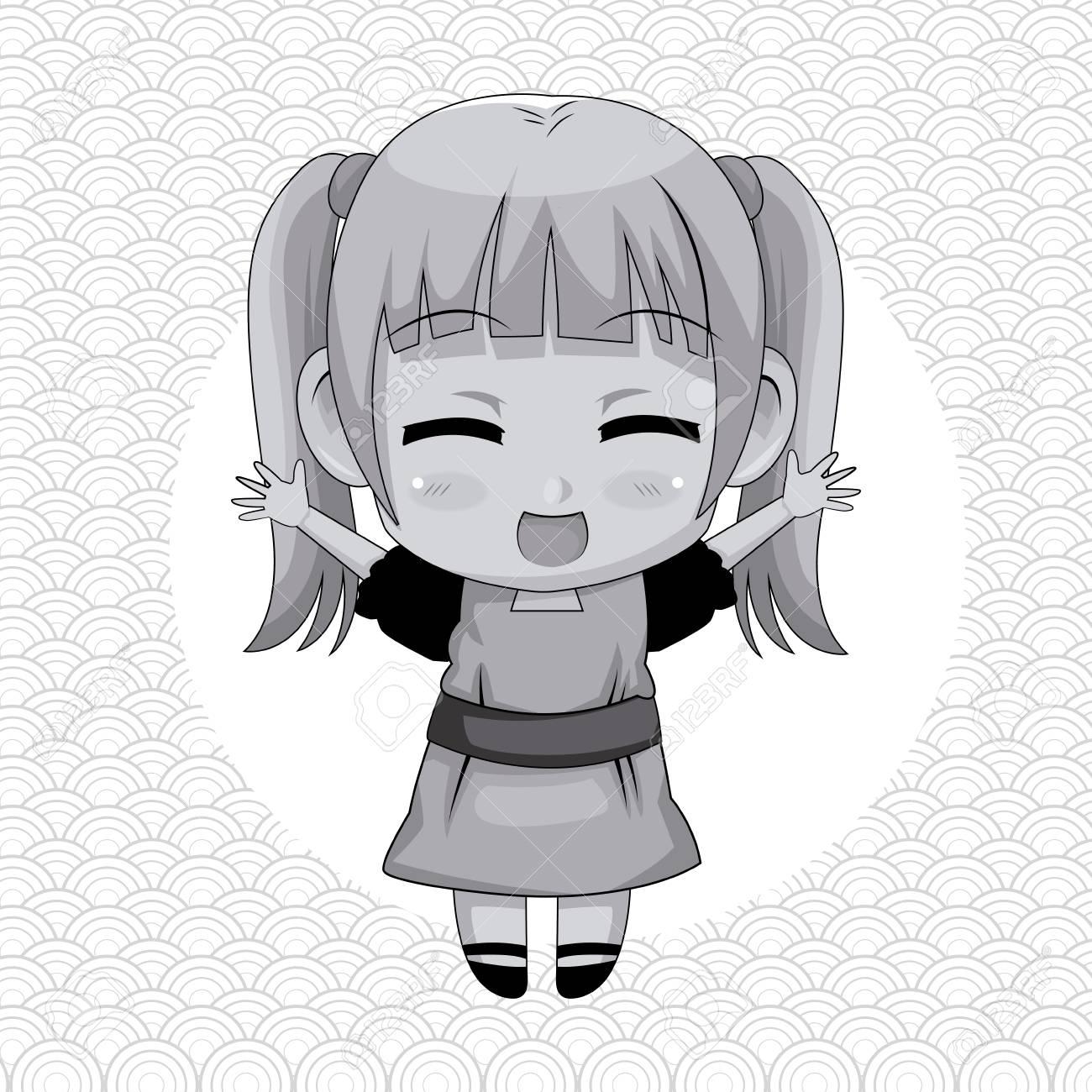 円形フレームとかわいいアニメの女の子式幸福ベクトル イラスト モノクロ