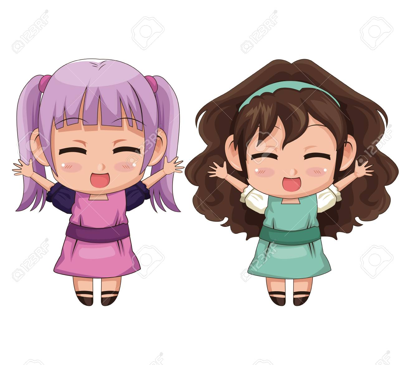 colorful full body couple cute anime girl facial expression smile