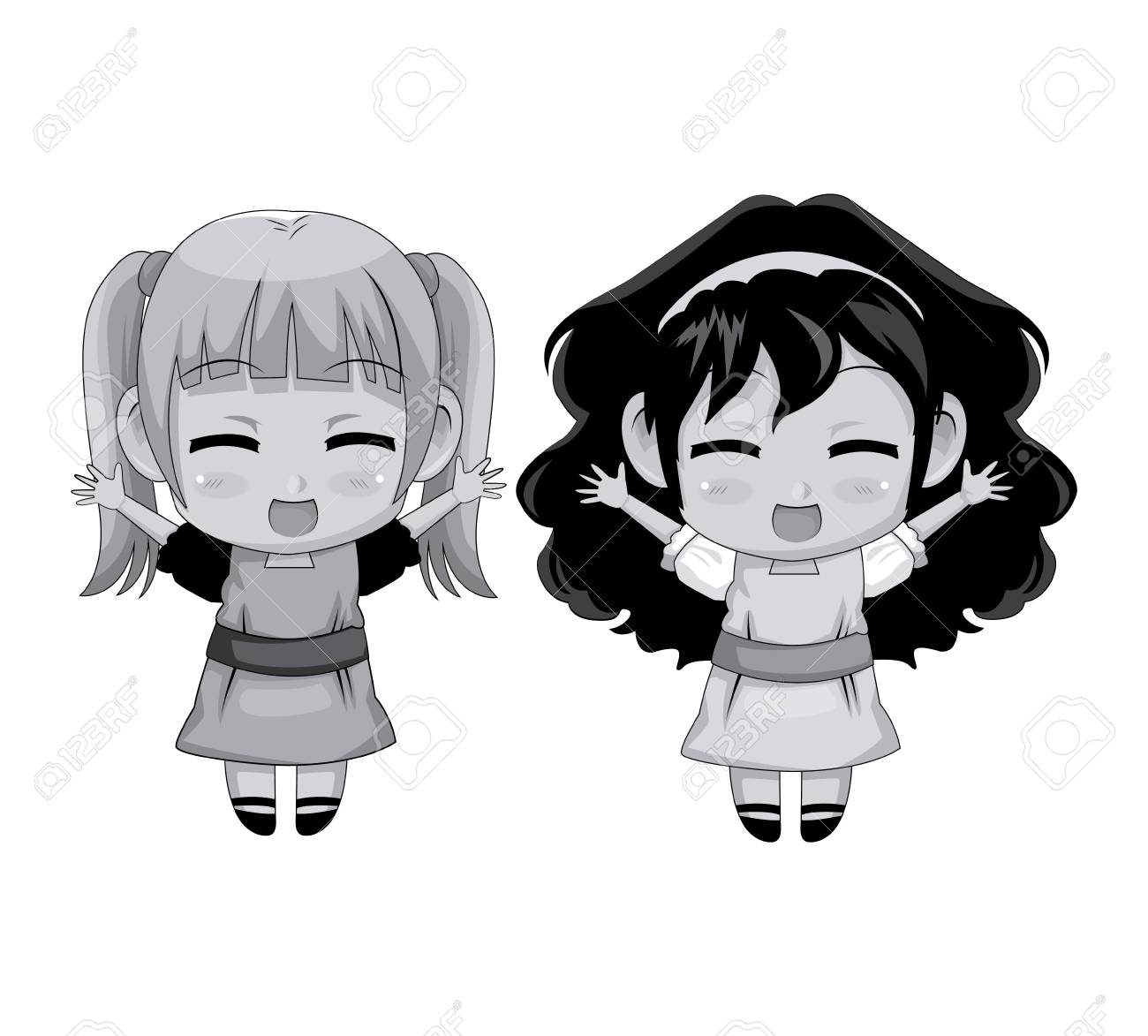 Monochrome Full Body Couple Cute Anime Girl Facial Expression