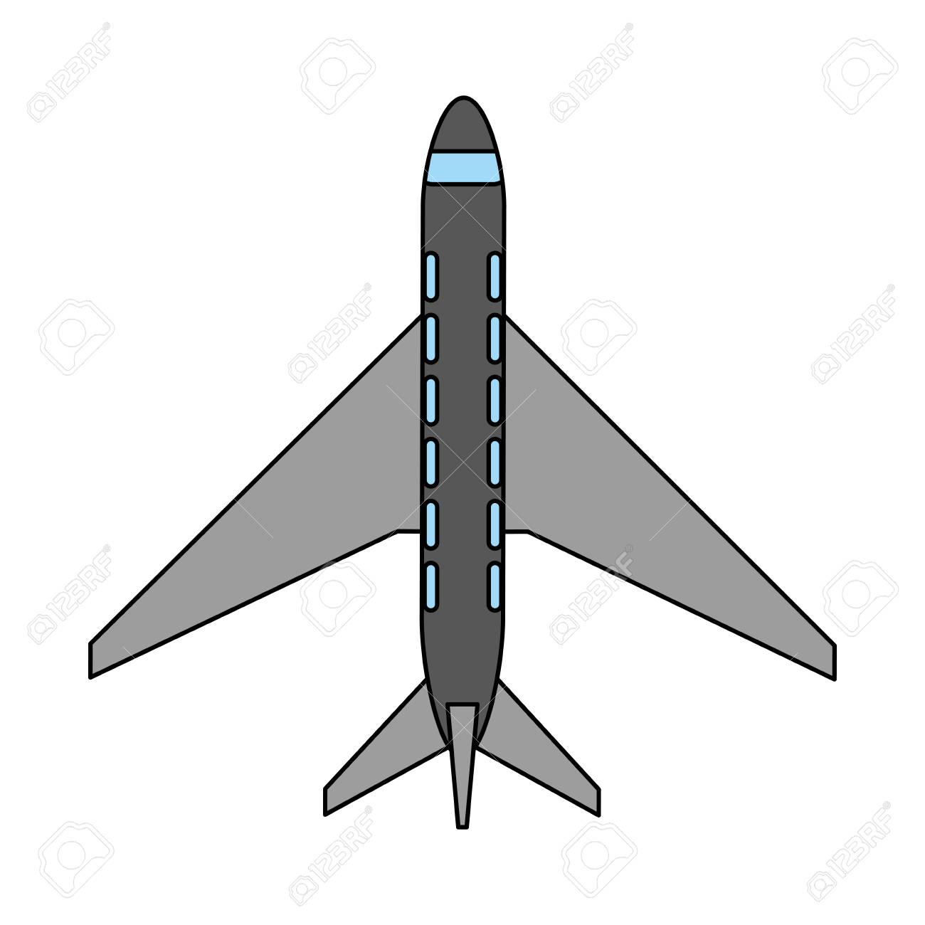 Color Image Cartoon Top View Travel Airplane Vector Illustration Stock