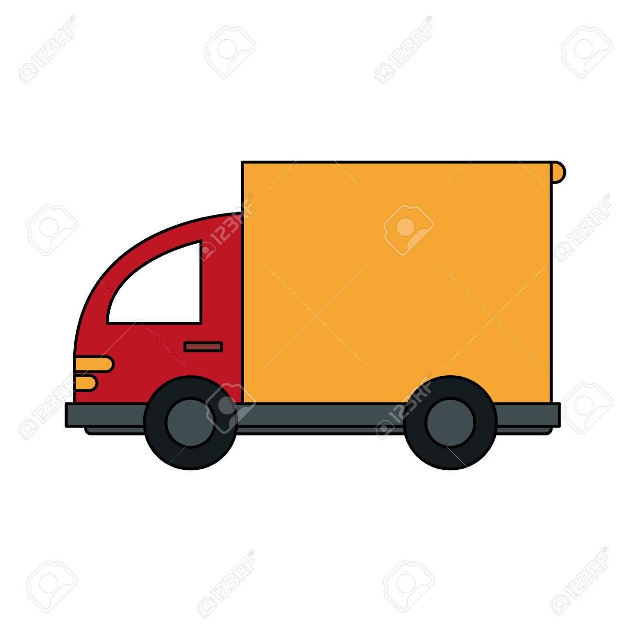 Camion De Transport Petit Dessin Animé Couleur Image Avec Illustration Vectorielle De Wagon
