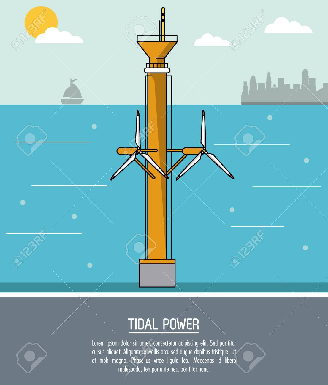 color sea landscape background tidal power plant with turbines vector  illustration Stock Vector - 79654930