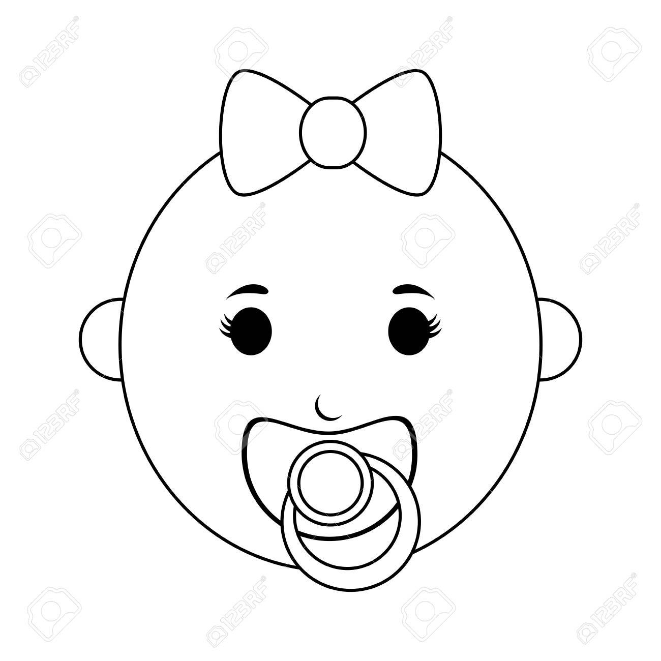 female baby with pacifier icon image vector illustration design