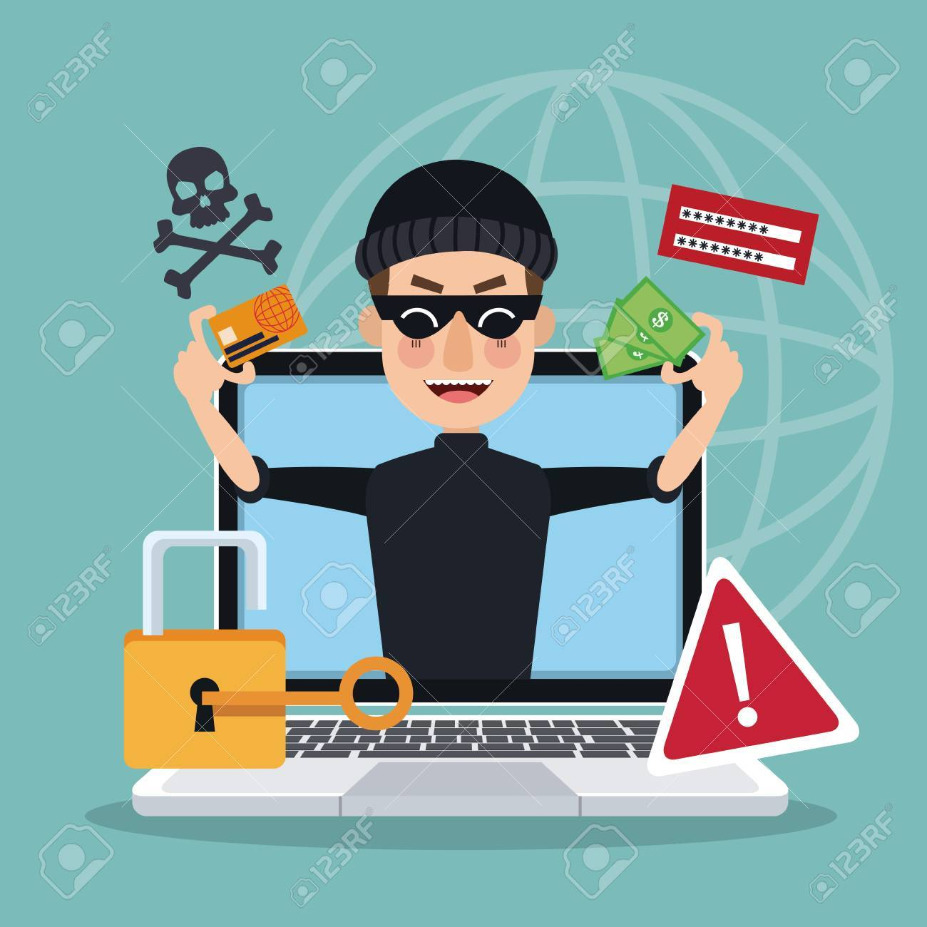 blue background global world silhouette with laptop and thief man hacker stealing attack vector illustration - 79752066
