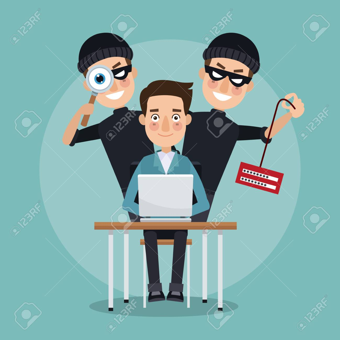 scene color programmer man in desk with laptop and pair thief men hacker stealing information and spying vector illustration - 79752276