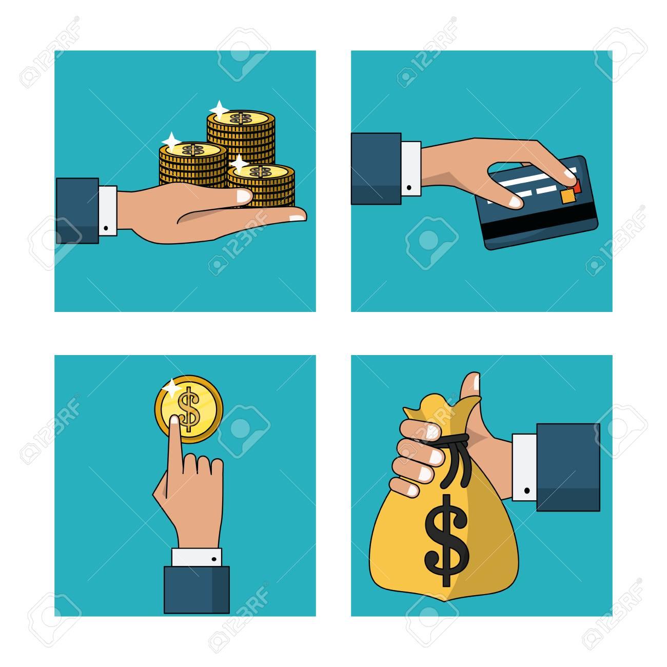 Weißer Hintergrund Mit Satz Rahmen Mit Bargeldzahlungen Und ...
