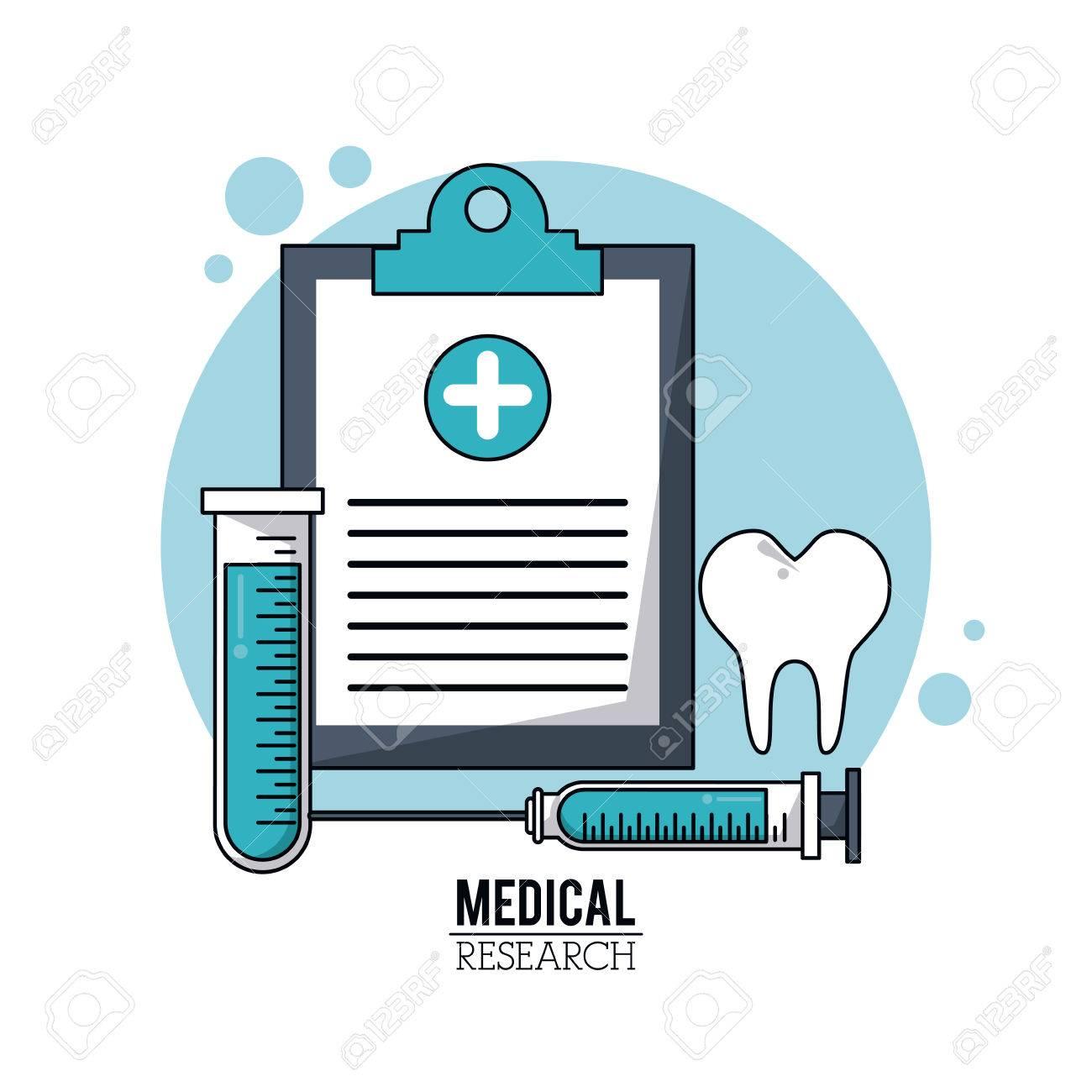 Farbe Poster Medizinische Forschung Mit Symbolen Medizinische ...
