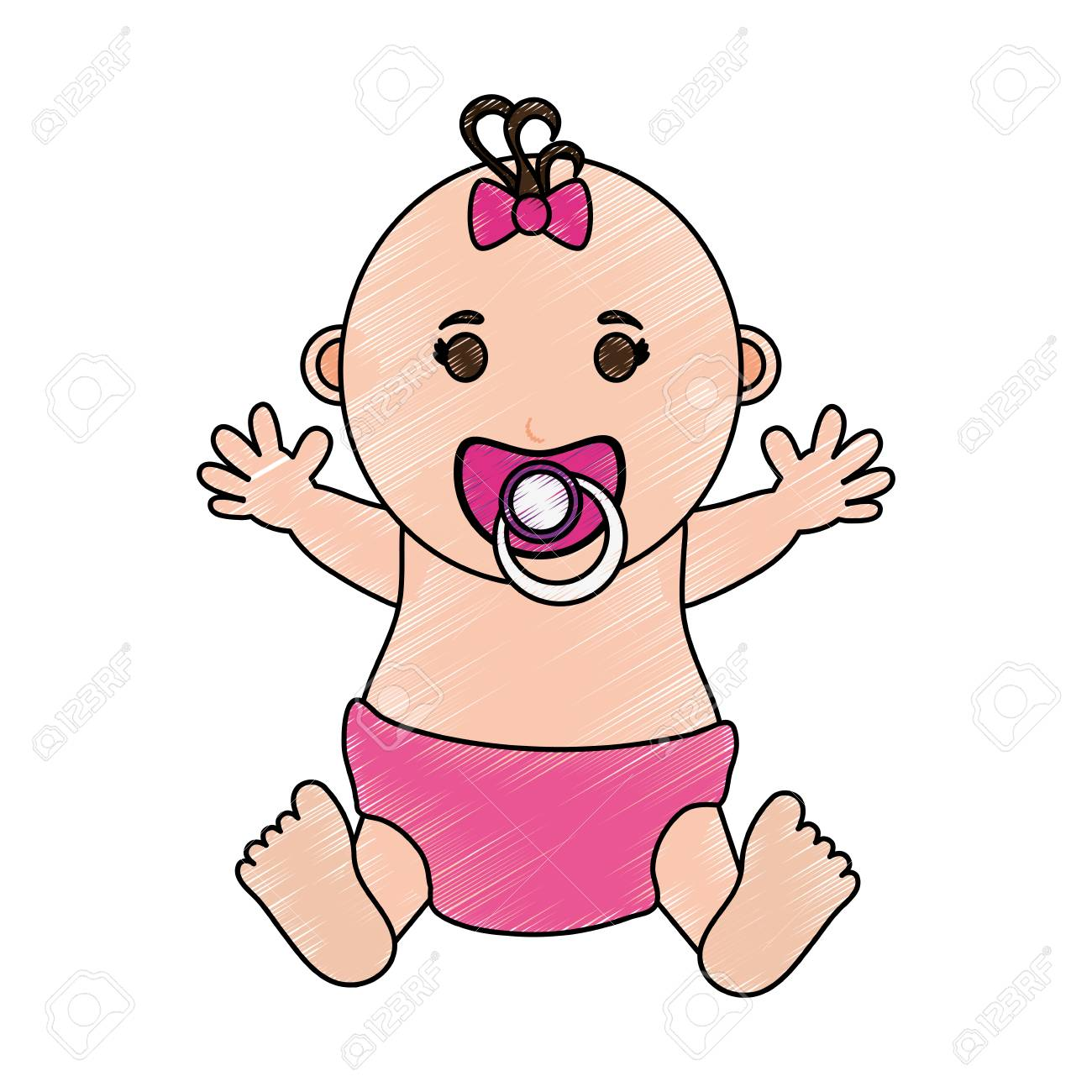 Baby girl illustration icon vector design graphic sketch stock vector 80022031