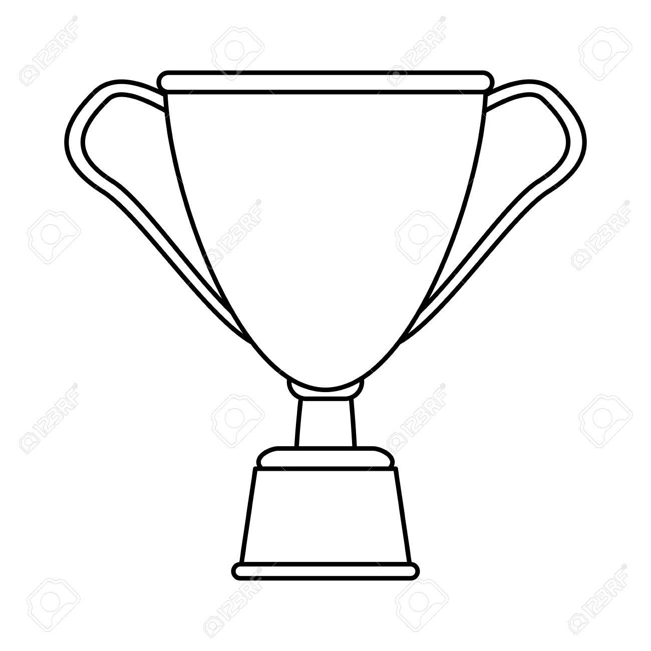 Trophy Cup Icon Image Vector Illustration Design Black Line Stock