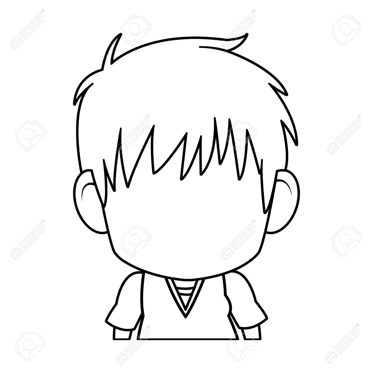 Faceless Anime Tennager Hair Style Contour Vector Illustration Standard Bild