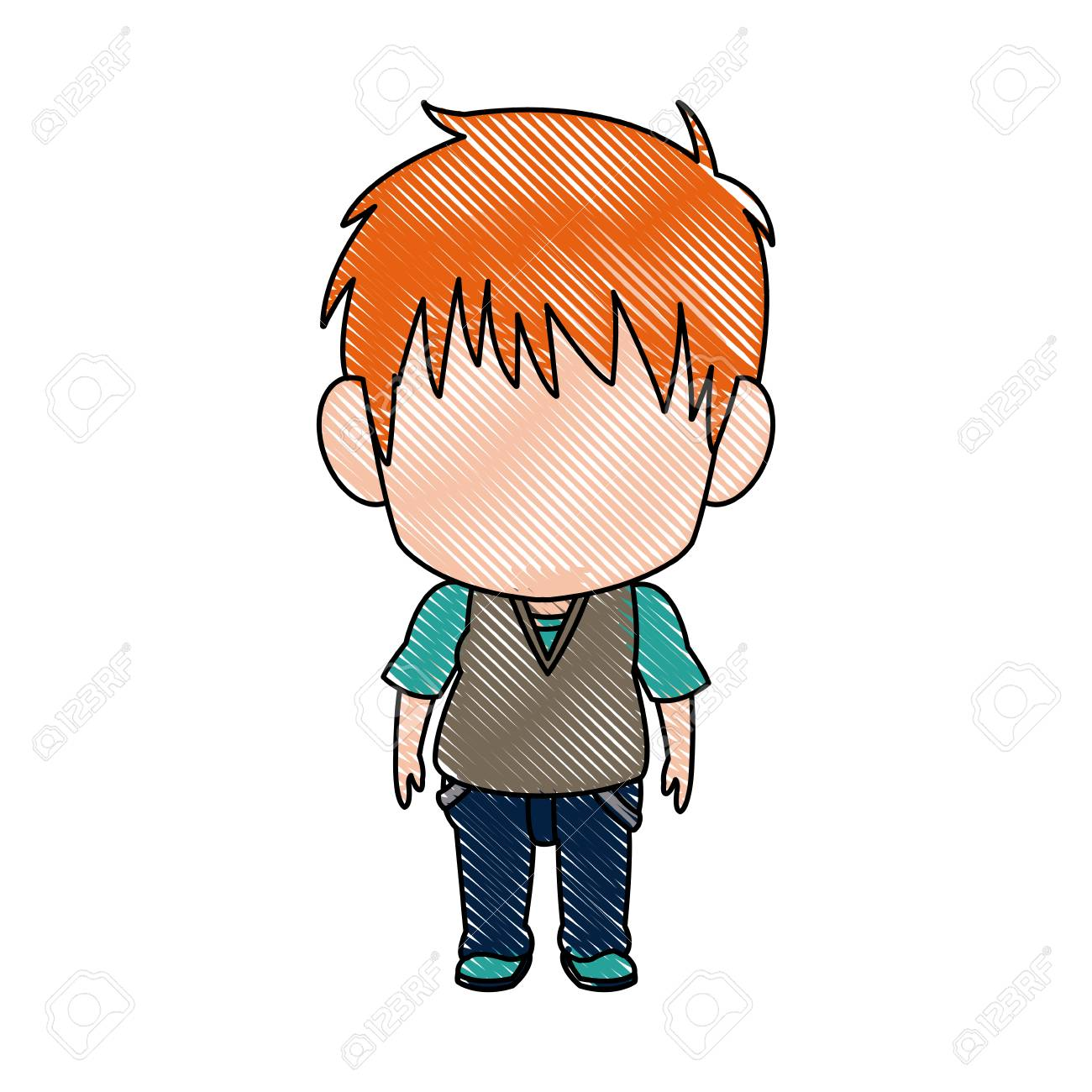 Cute little boy anime faceless color image vector illustration stock vector 80034502