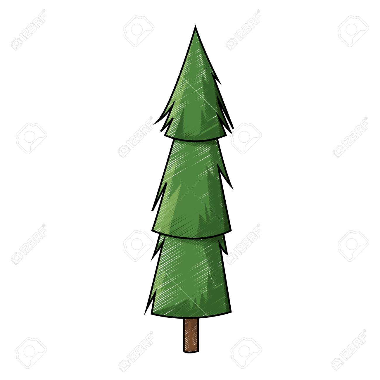 Cartoon Pine Tree Trunk Nature Icon Vector Illustration Stock