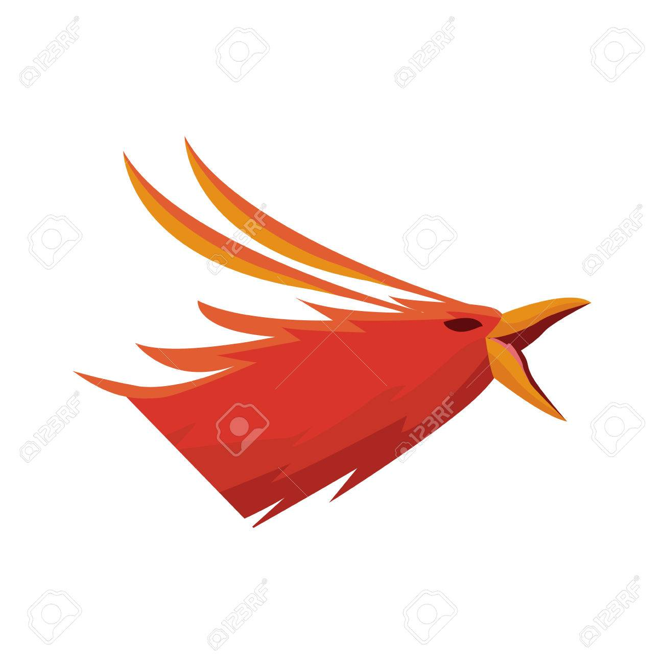 Phoenix Bird With Rising Wings Ancient Symbol Of Revival Vector