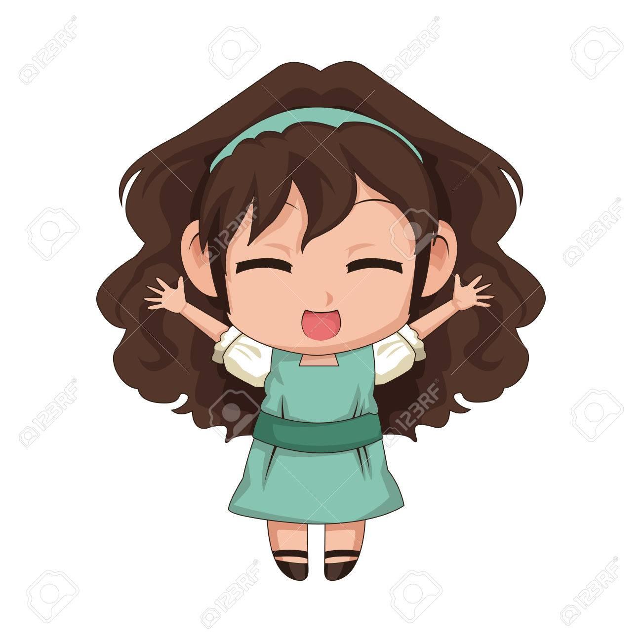 Cute Anime Chibi Little Girl Cartoon Style Vector Illustration Stock