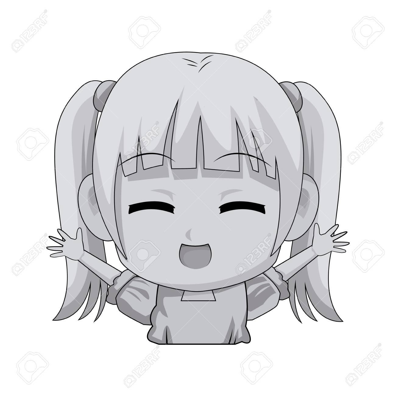 Cute Cartoon Anime Little Girl Chibi Character Vector Illustration