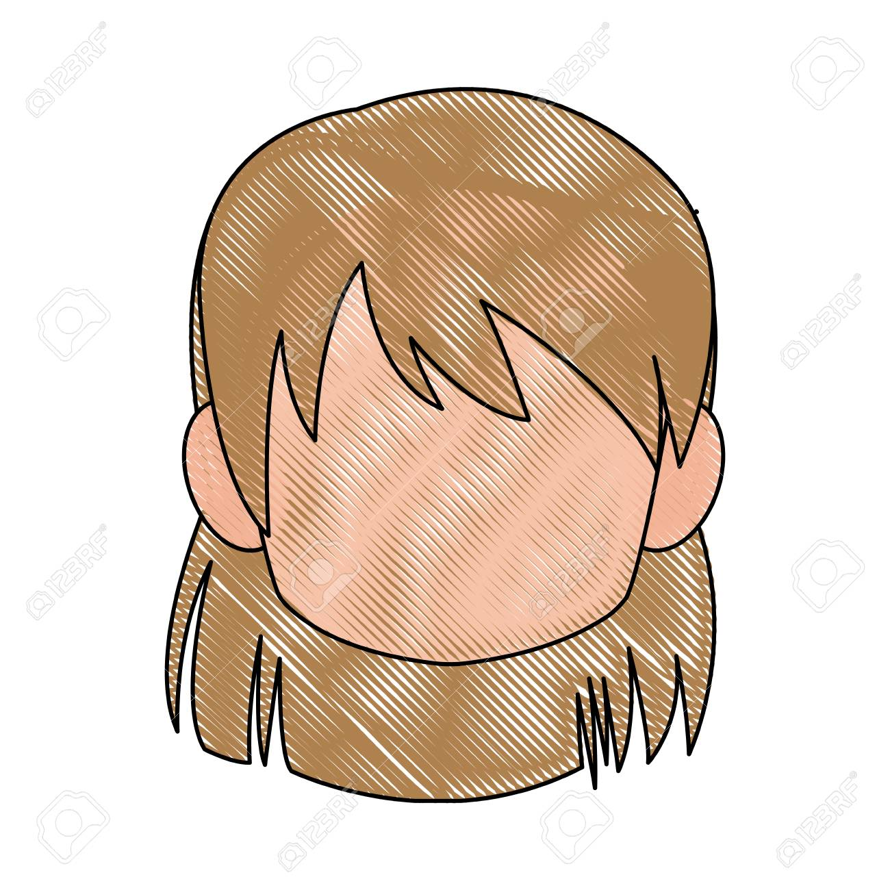 Chibi anime girl avatar contour default vector illustration stock vector 80046101