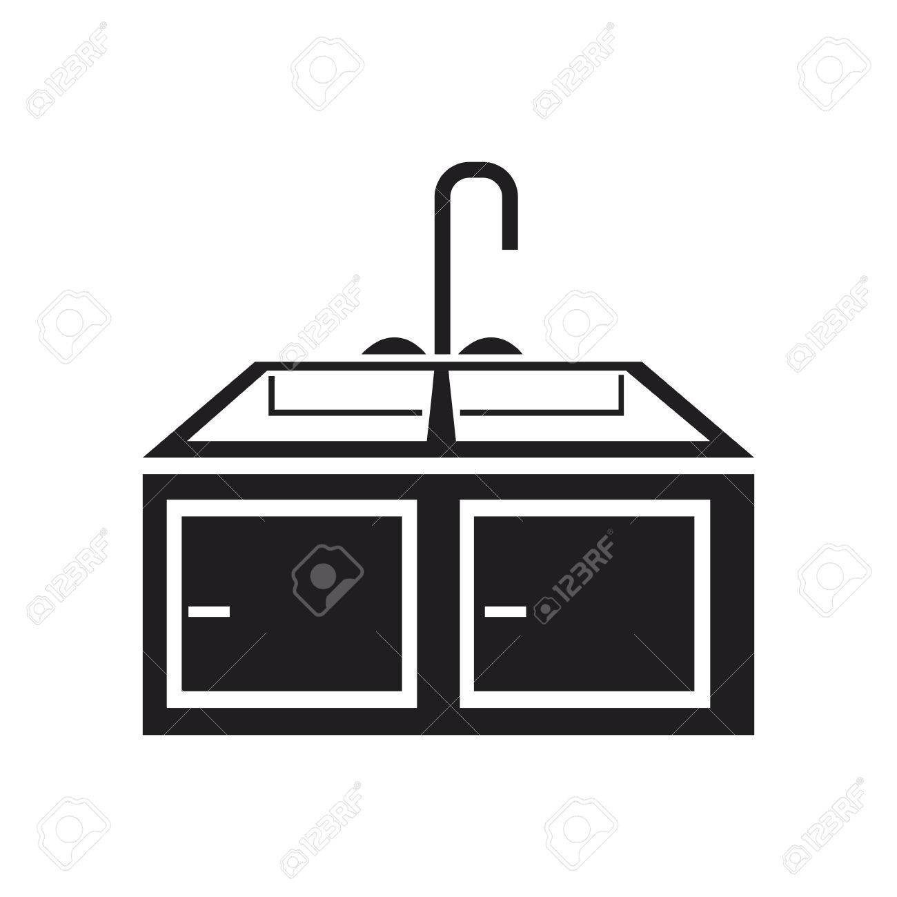 kitchen sink clipart black and white. kitchen sink with drying rack furniture vector illustration stock - 80128503 clipart black and white
