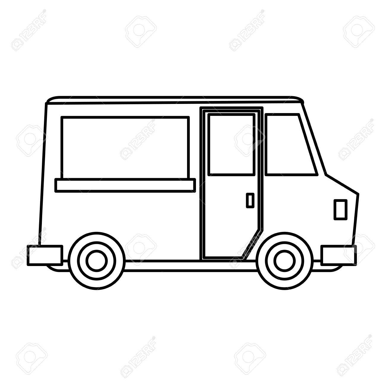 Food Truck Icon Image Vector Illustration Design Black Line Stock