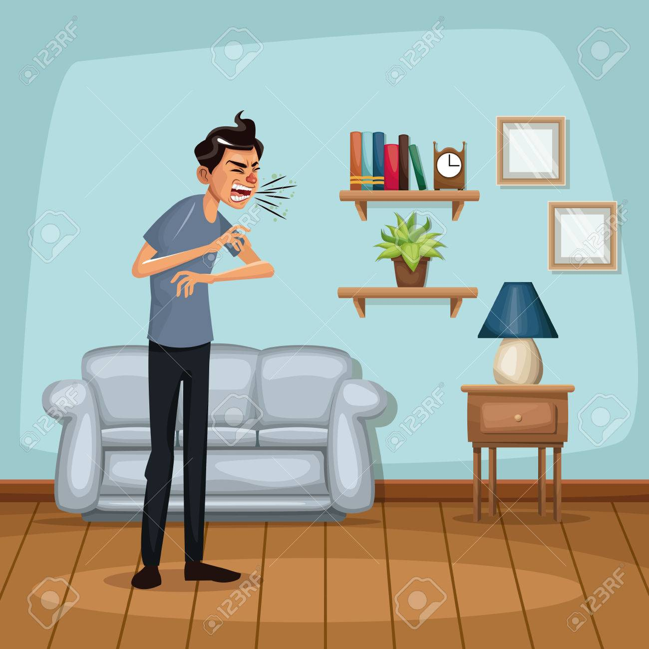 Background Living Room Home With Sneeze Sickness People Vector