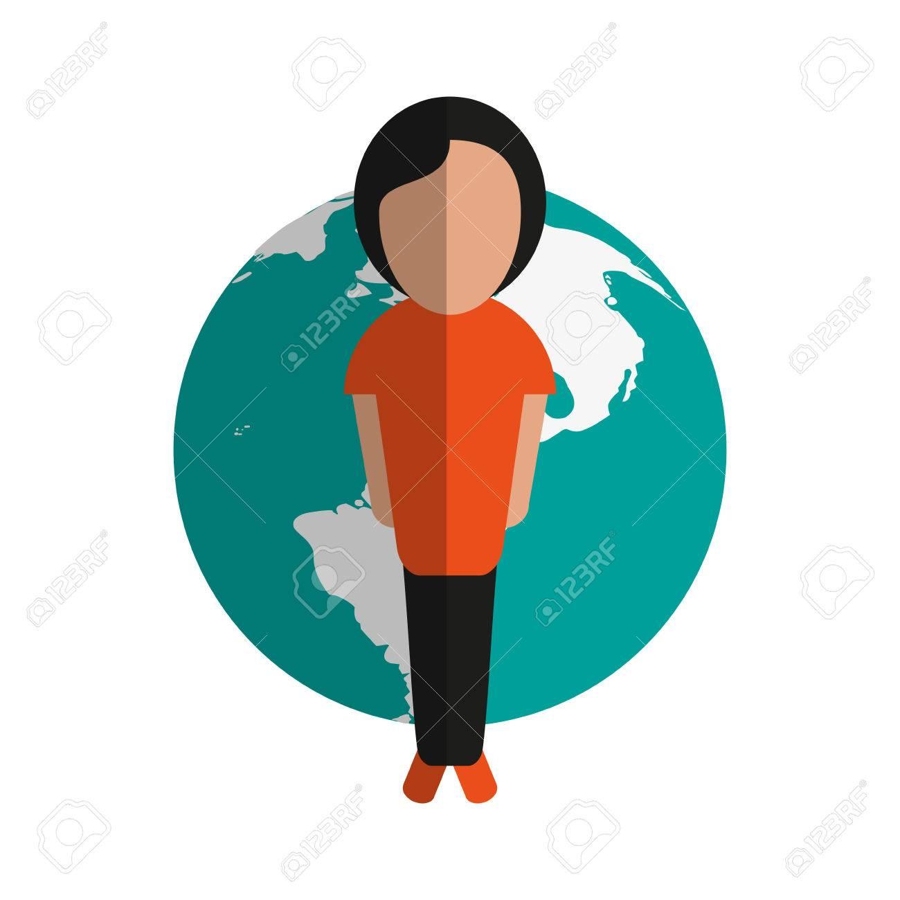 惑星地球国際アイコン画像ベクトル イラスト デザインに立っている人の