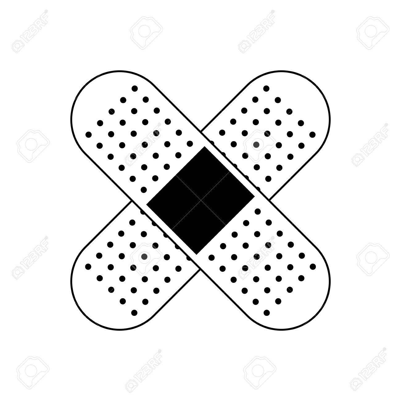 Plaster Cure Band Health Care Symbol Vector Illustration