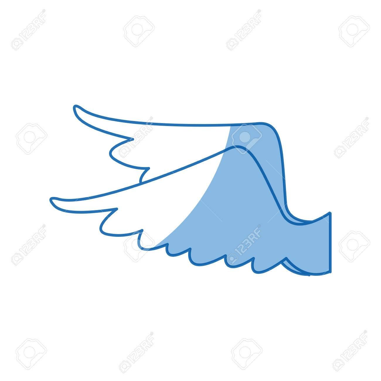 Dessin Ailes Plume Oiseau Ange Icône Vector Illustration