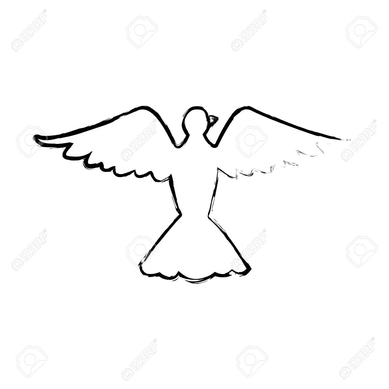 Passaro Pombo Liberdade Paz Asas Abertas Ilustracao Vetorial