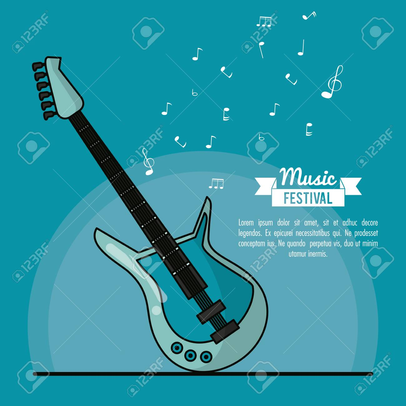 Poster Music Festival In Blue Background With Electric Guitar Vector Illustration Banque Dimages