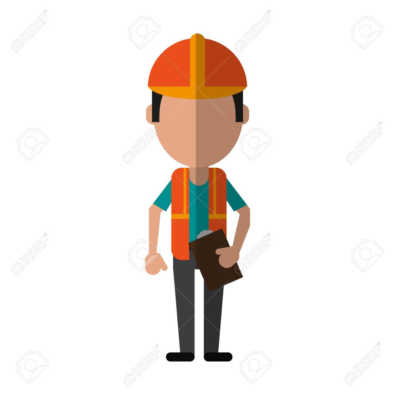 Male Engineer Construction Or Factory Worker Avatar Wearing Reflective Vest Icon Image Vector Illustration Design Stock
