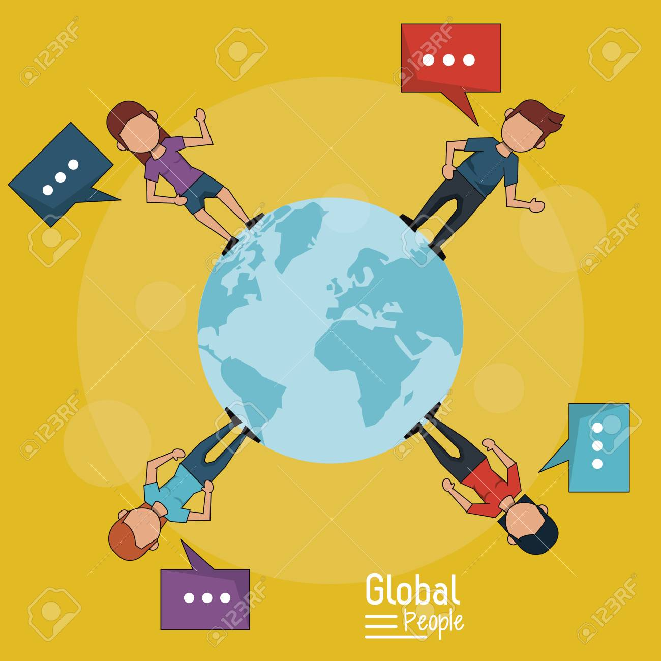 poster of global people with yellow background of planet earth and people around her with text dialogues vector illustration - 81011010