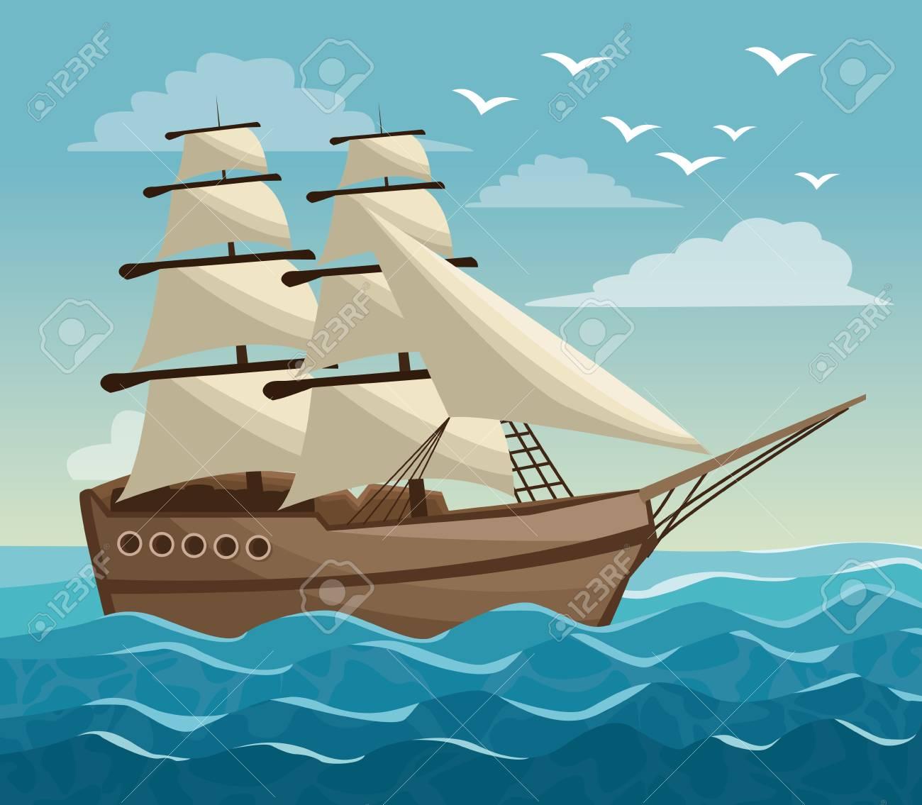 空海の風景ヨット ベクトル イラストのカラフルなポスターのイラスト