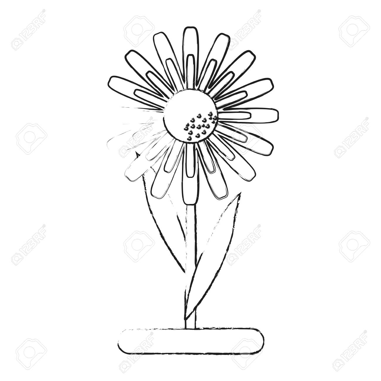 Small Delicate Flowers Icon Image Vector Illustration Draw Royalty