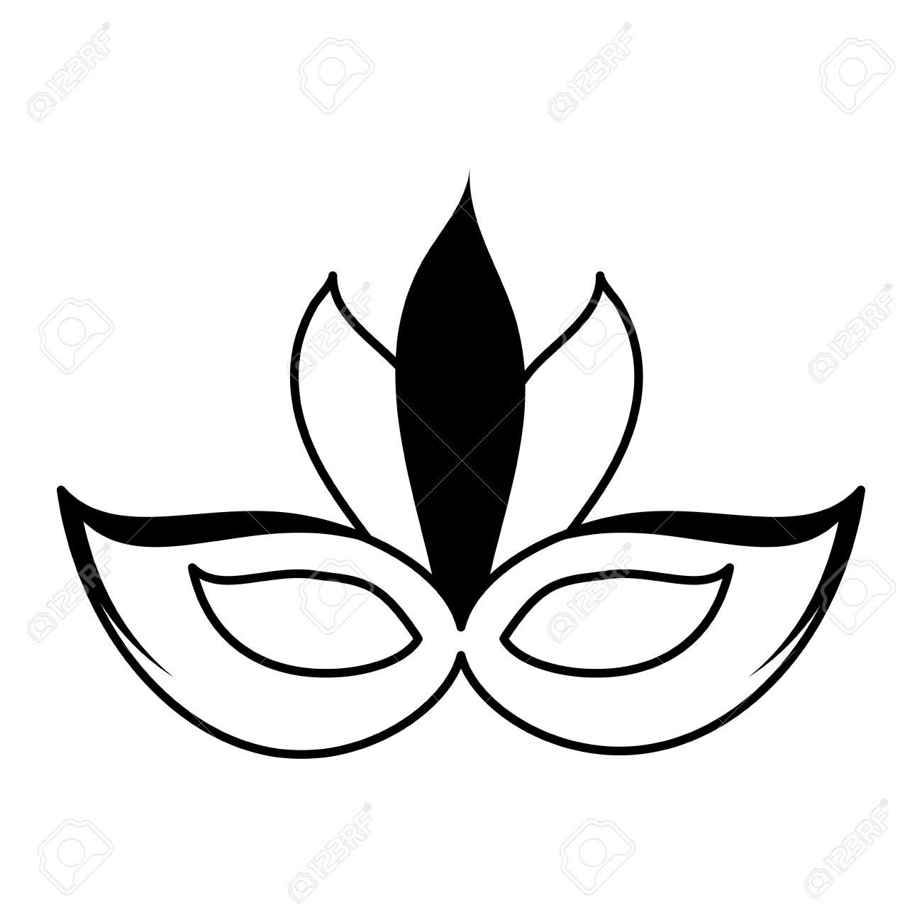 Carnival Mask Icon Image Vector Illustration Design Black And White Stock  Vector   81145572