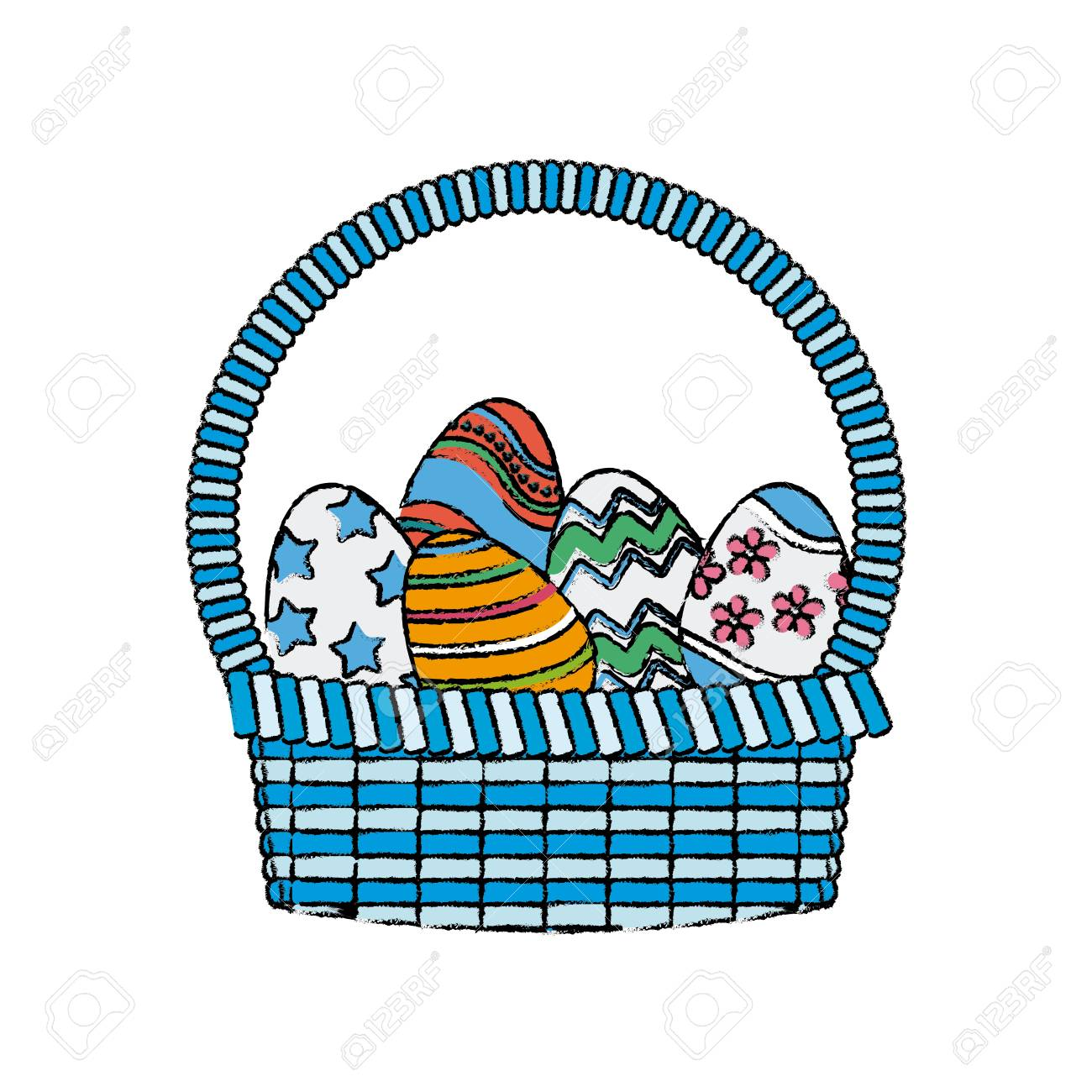 Drawing Happy Easter Basket Egg Decoration Image Vector Illustration Stock Vector 81146263