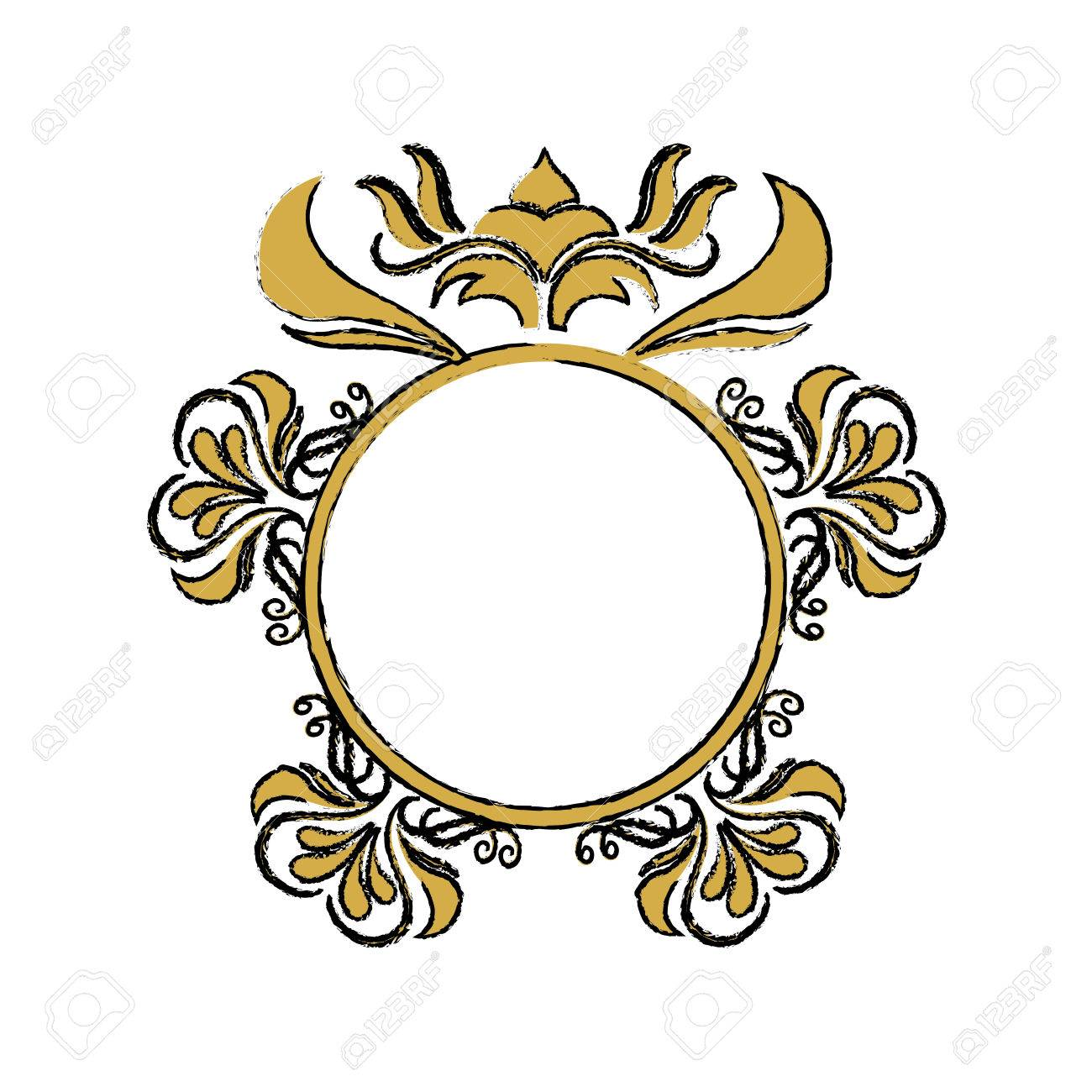 Floral Frame Border Decorative Design Element And Fancy Ornament