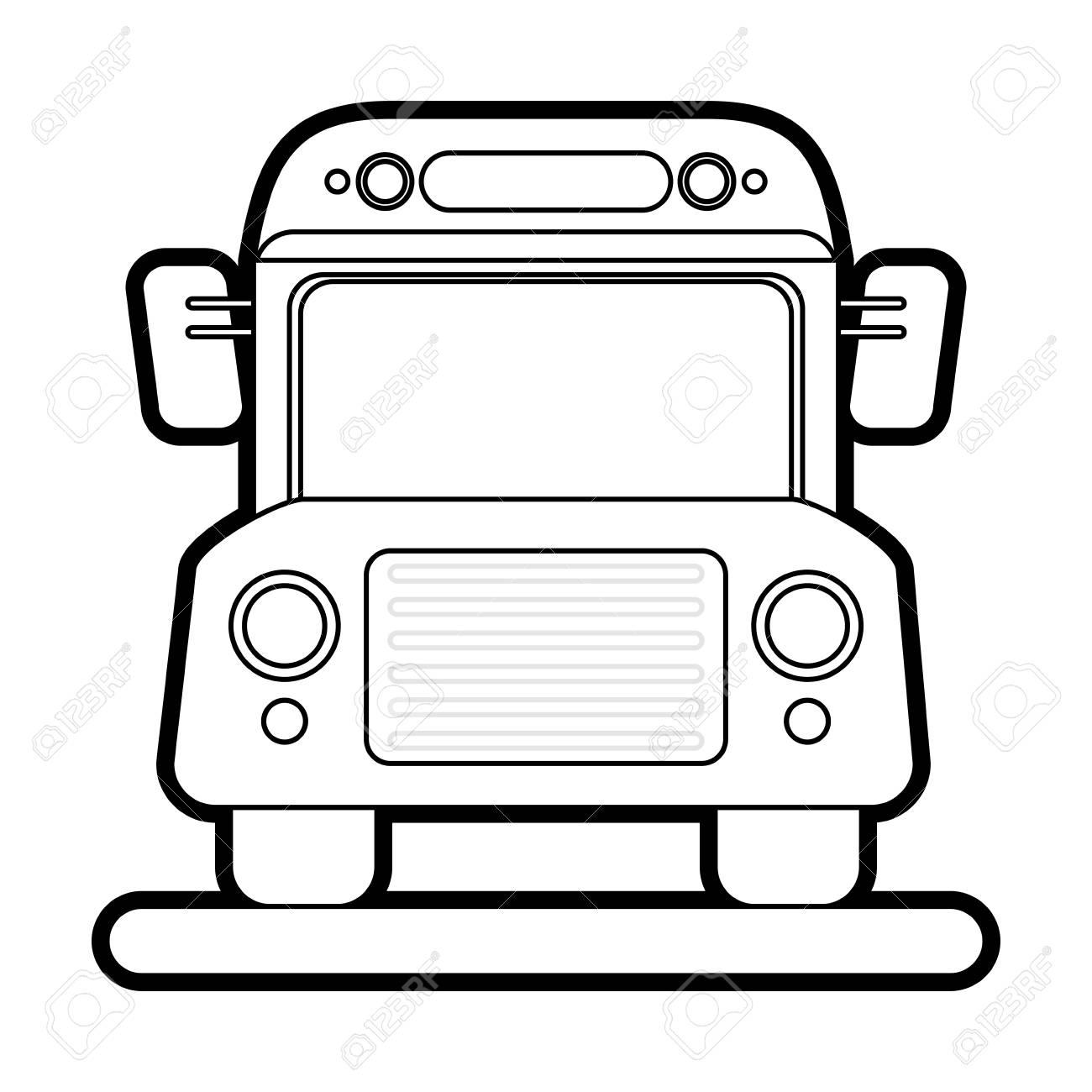 Bus Transport Scolaire Dessin Animé Peinture Vecteur Illustration Design Graphique