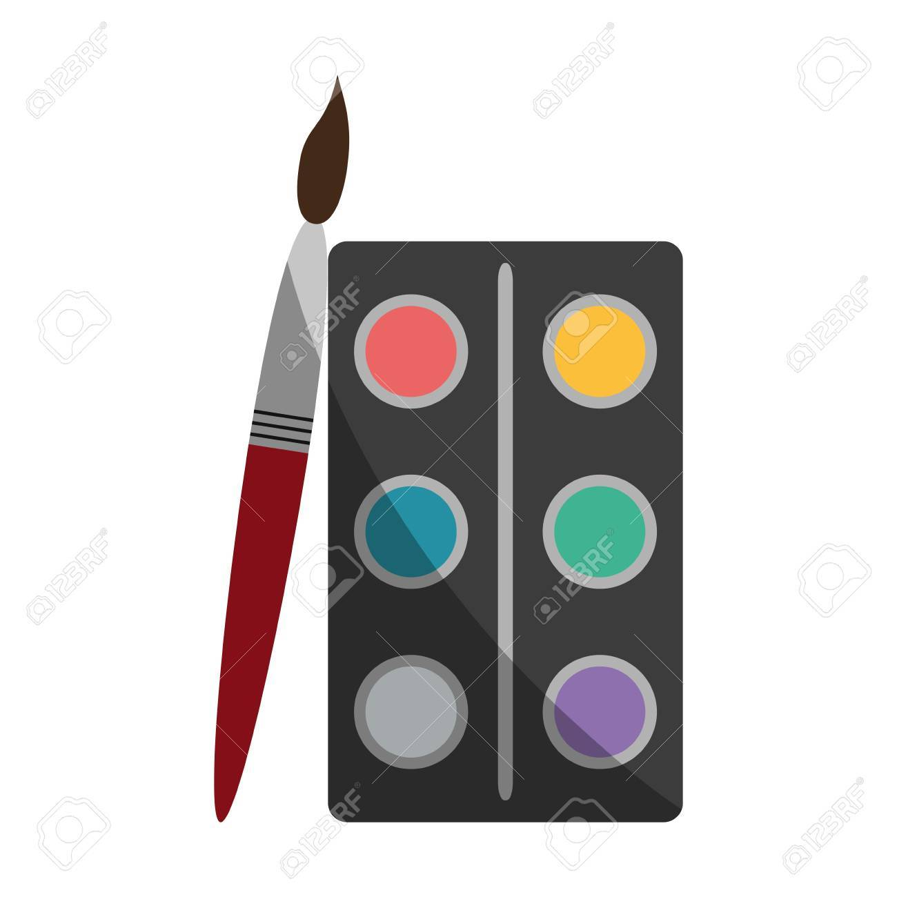 watercolor set with paint brush school supply icon image vector.. royalty  free cliparts, vectors, and stock illustration. image 81272599.  123rf