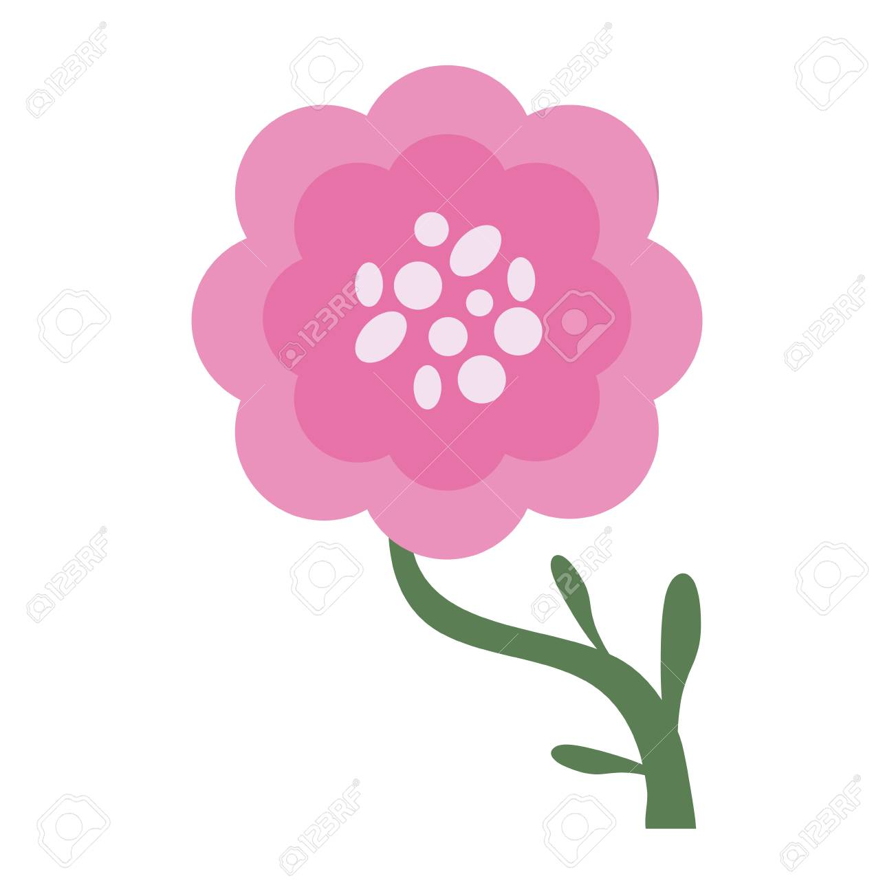 Single Pink Flower Icon Image Vector Illustration Design Royalty