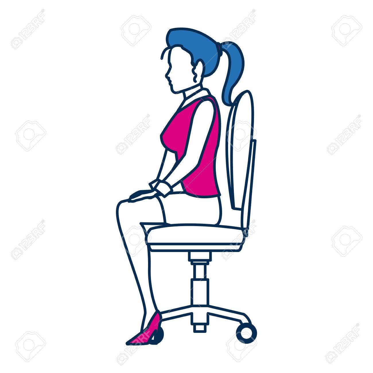 Business Woman Person Sitting Office Chair In Blue And Fuchsia