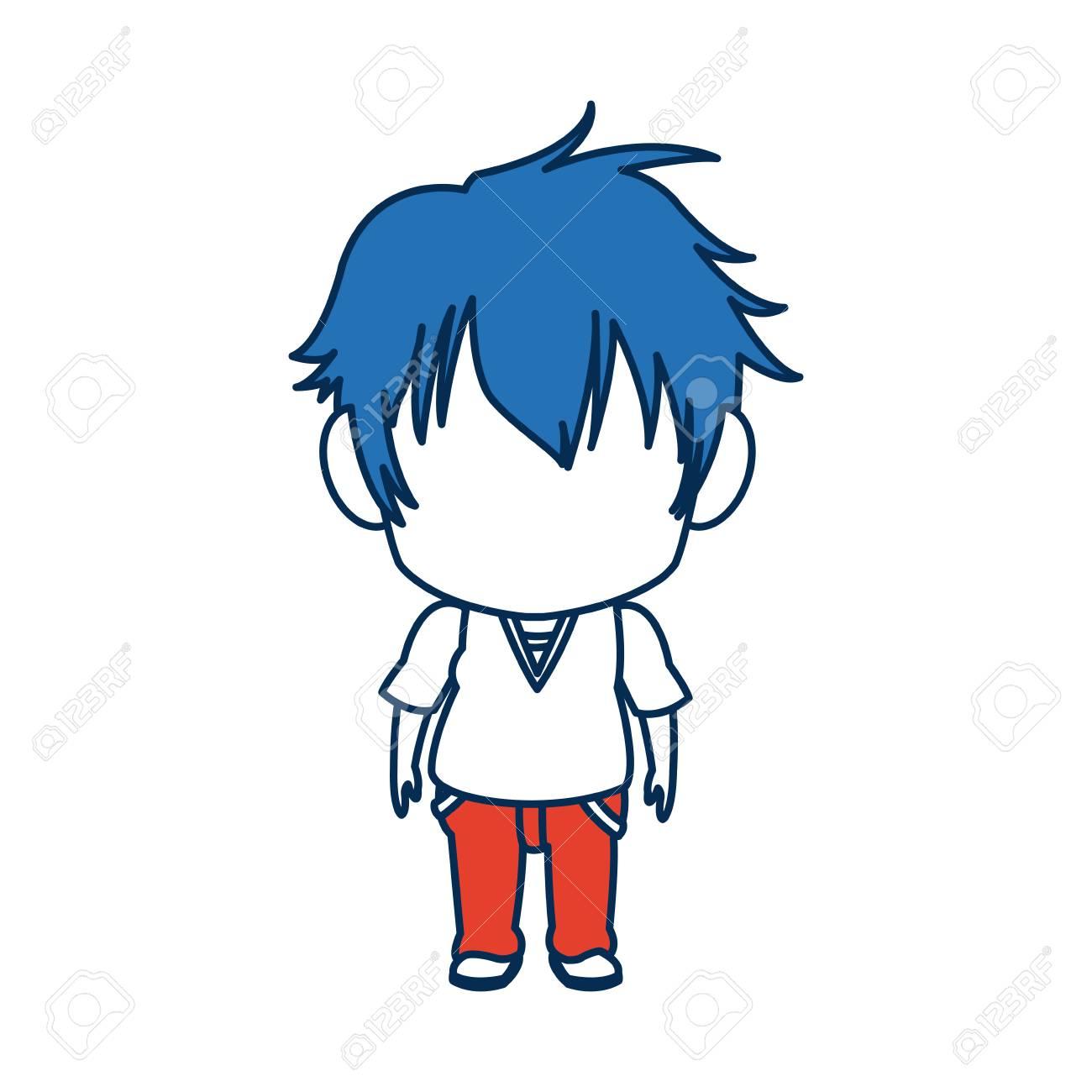 Garcon Anime Male Manga Dessin Anime Comique Cheveux Bleus