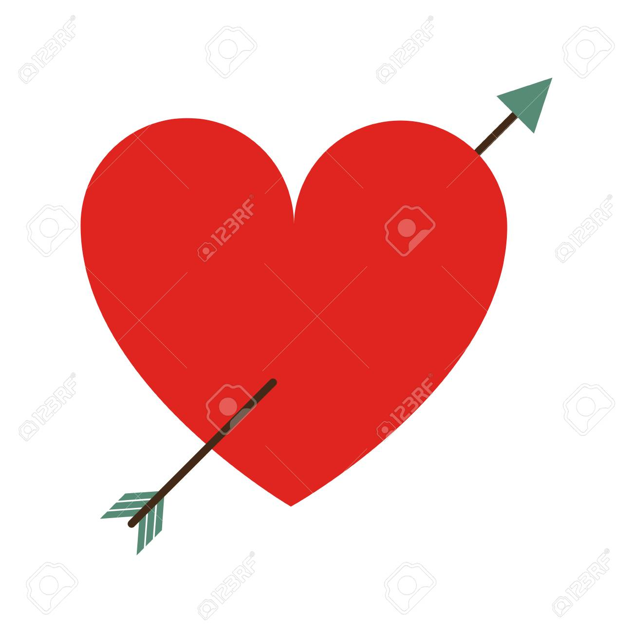 Cartoon Heart With Arrow Love Valentines Day Related Icon Icon