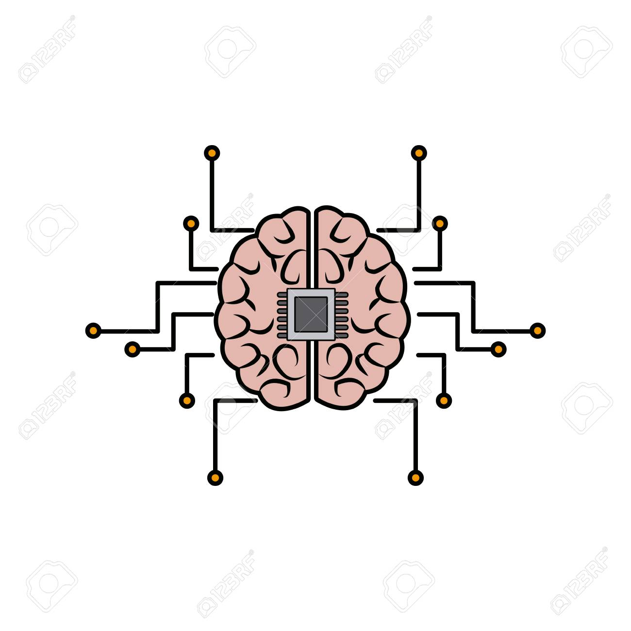 Printed Circuit Board Human Brain Center Of Computer System Vector ...