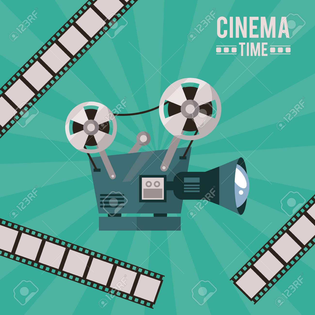 Colorful poster of cinema time with movie projector and film colorful poster of cinema time with movie projector and film tape vector illustration stock vector ccuart Gallery