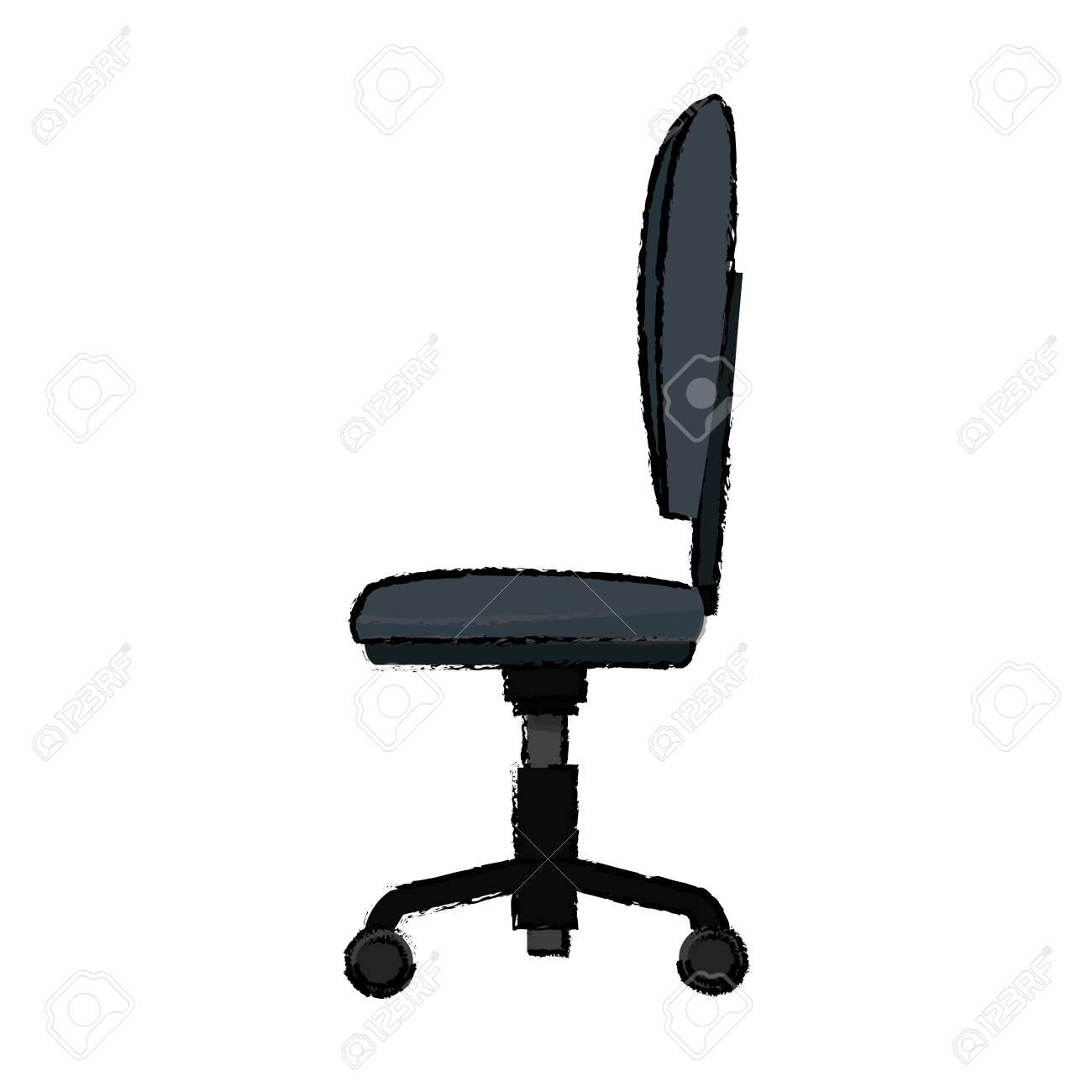 Ilustración de vector de comodidad suave de silla oficina rueda