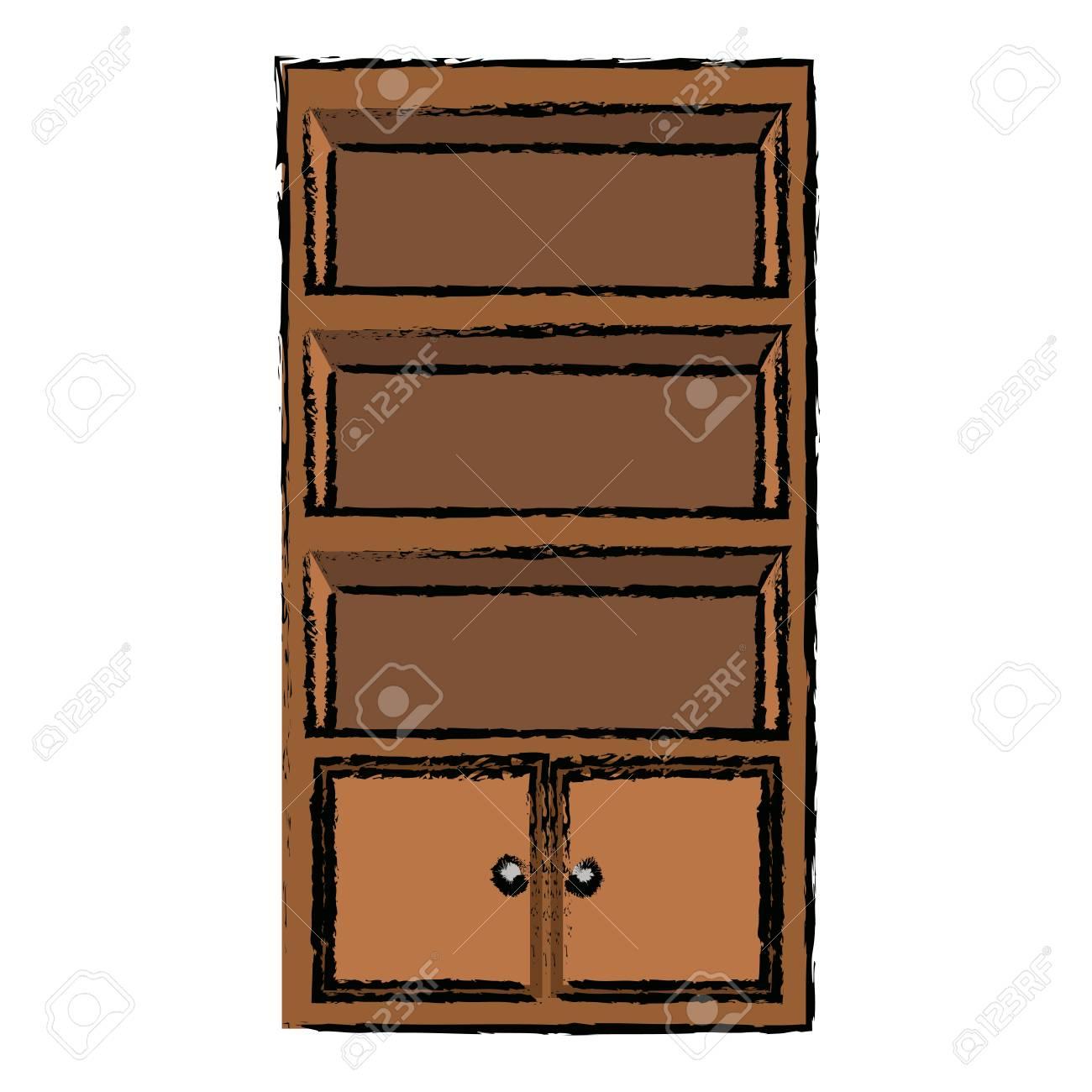 Muebles De Oficina De Madera.Gabinete Estante Muebles Oficina De Madera Ilustracion Vectorial Vacio